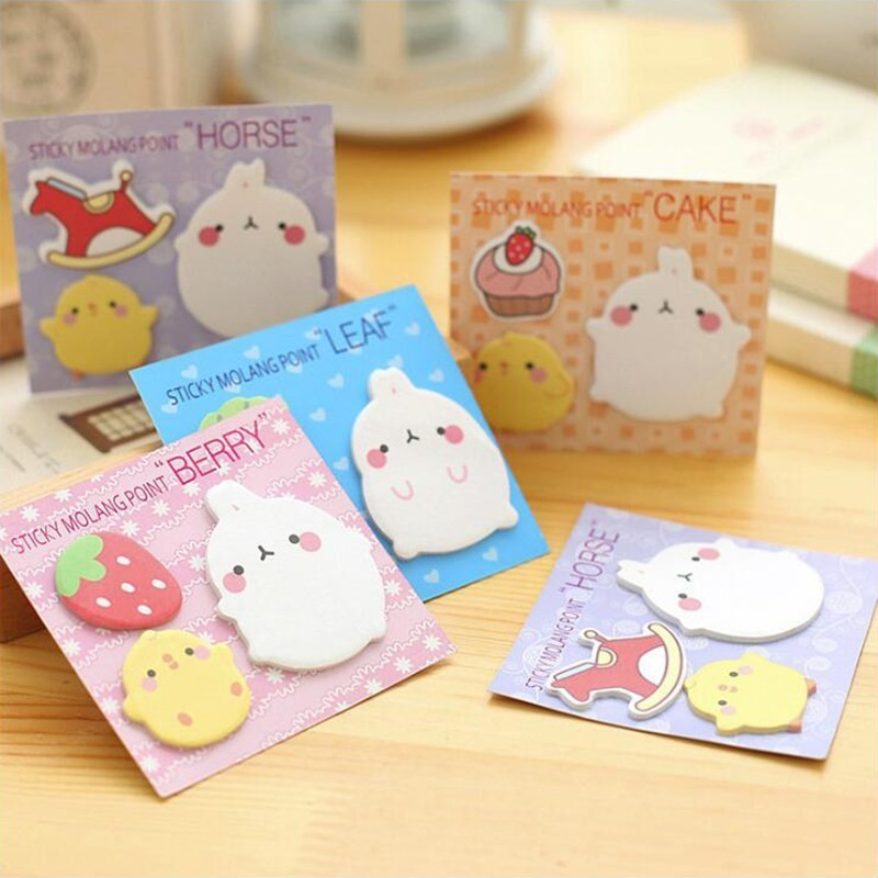 Cute Rabbit Combination Memo Pads Sticky Notes Self- Adhesive Decorative Sticker Office Stationery School Supplies 1PCS