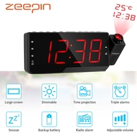 Car Electronic Radio Clocks 3 Alarm Time Projection LED Display Projector Desktop Digital Table Clock Snooze Timer Temperature