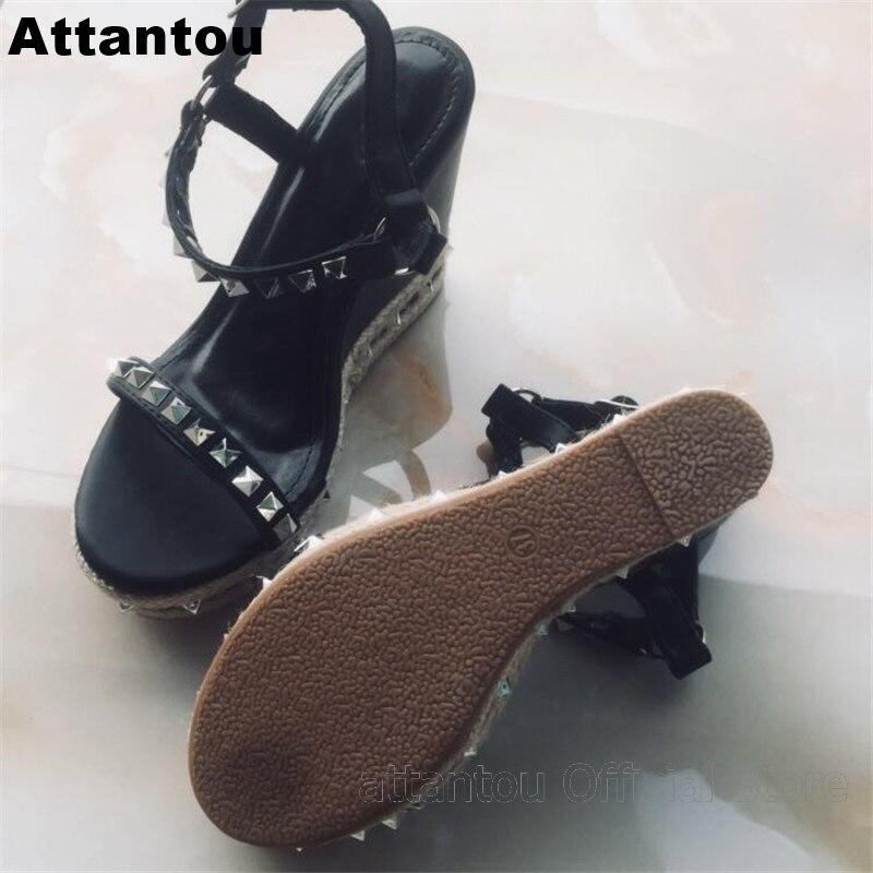 ab7faee4847 New summer fashion black wedge high heel sandals silvery rivet belt  designer platform high heels ankle buckle cool shoes