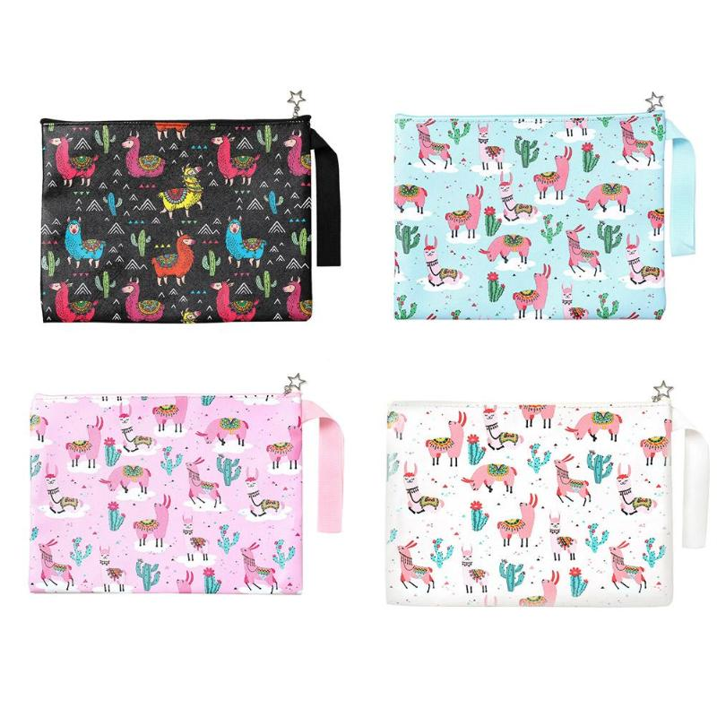 PU Cute Cartoon Printed File Bag Travel Cosmetic Case Toiletry Wash Organizer Bag Makeup Bag Stationery School Office Supplies