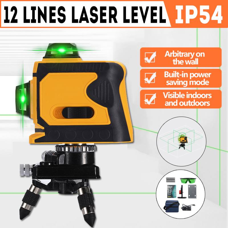 12 Lines Green Cross Line Laser Level 532nm 3D 360 Degree Rotation Auto Leveling Horizontal Vertical Laser Beam+Base+Wall Frame12 Lines Green Cross Line Laser Level 532nm 3D 360 Degree Rotation Auto Leveling Horizontal Vertical Laser Beam+Base+Wall Frame