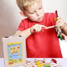 Handmade DIY Children Simulation Multi-function Toolbox Wooden Disassembly Repair Tool Toys Children Play House Toys wooden child maintenance tool toolbox simulation house toys set puzzle early education montessori toys