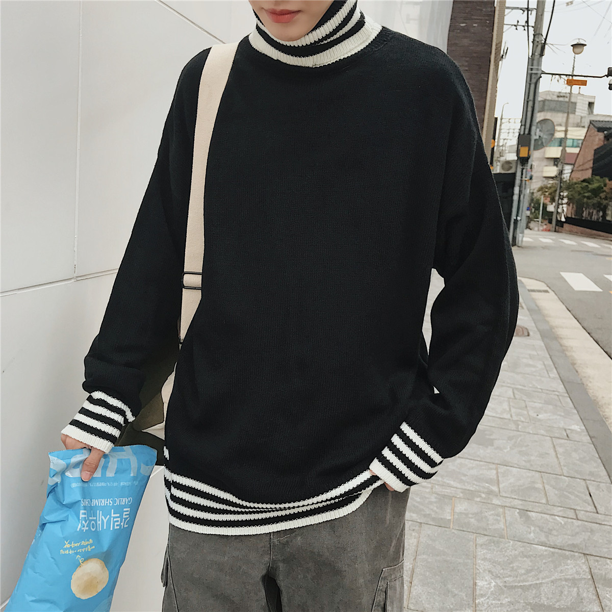 Detail Feedback Questions about 2018 Winter Men s Fashion Stripe Turtleneck  Woolen Knitting Pullovers Loose Casual Black White Yellow Color Warm  Sweaters M ... 0e15512c7