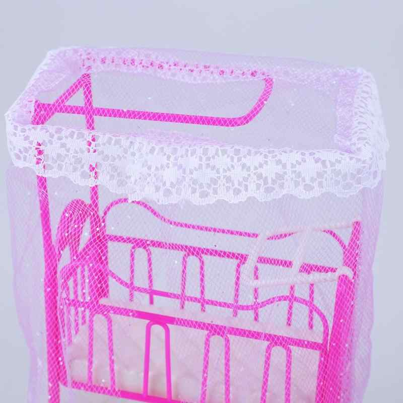 Пластик кроватка с балдахин кукла аксессуары Милая кроватка девочек кукольный мебель для Барби Куклы детская игрушка, подарок забавные милые розовые