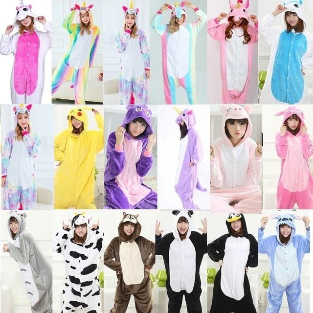 sitio web profesional mas bajo precio moda más deseable 2019 invierno Animal Stitch ropa de dormir unicornio pijamas onesie  conjuntos kigurumi mujeres/hombres Unisex adultos franela onesies para