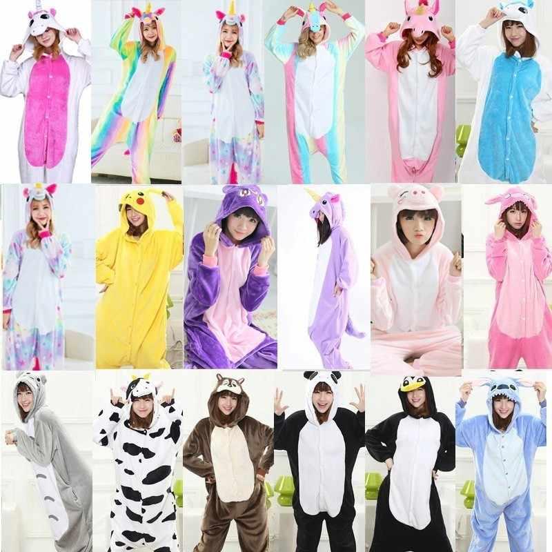 2019 зимняя одежда для сна в виде животных, пижамы в виде единорога, наборы Кигуруми для женщин/мужчин, унисекс, фланелевые Комбинезоны для взрослых