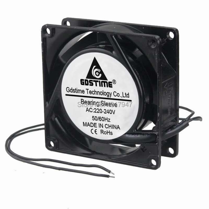 220V 240V 8cm 80mm x 80mm x 25mm AC Metal Brushless Cooling Industrial Fan