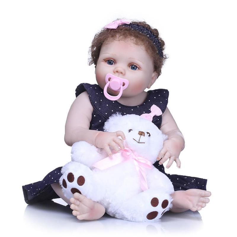 2018 NPK Vinyl Soft Silicone Reborn Full Plastic Doll Lovely Activity security Baby Bathing Playing Toys for 56cm