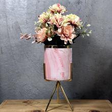 INS Light Luxury Metal Multi-flesh Flower Pot Hydraulic Iron Frame Ceramic Combination Simulated Hydrangea Set Home Decorati