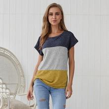 Summer Tee Shirt Femme Casual Beach Holiday Short Sleeve T Shirt Women Loose O Neck Patchwork ColorBlock Tops 2019 Women Clothes