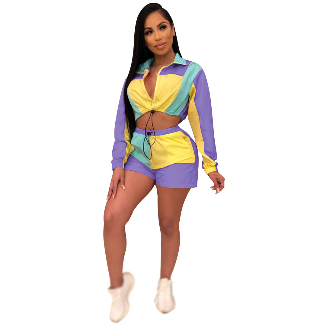 Two Piece Set Women Summer Crop Top Zipper Patchwork Sexy Club Sets Long Sleeve Shorts Set