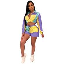 Комплект из двух предметов, женский летний укороченный топ на молнии, лоскутный сексуальный клубный комплект, комплект с шортами с длинными рукавами