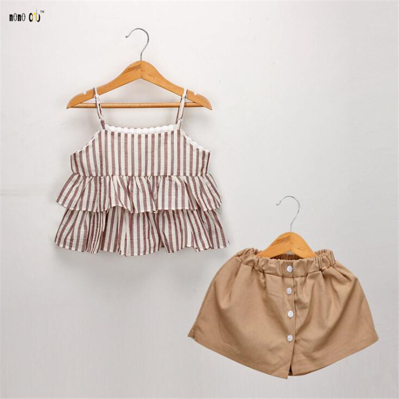 Women Set Summer season Youngster Garments Two Items Sling Prime & Shorts Informal Striped Cotton Children Clothes Swimsuit 2 three four 5 6 7 Years Previous Clothes Units, Low-cost...