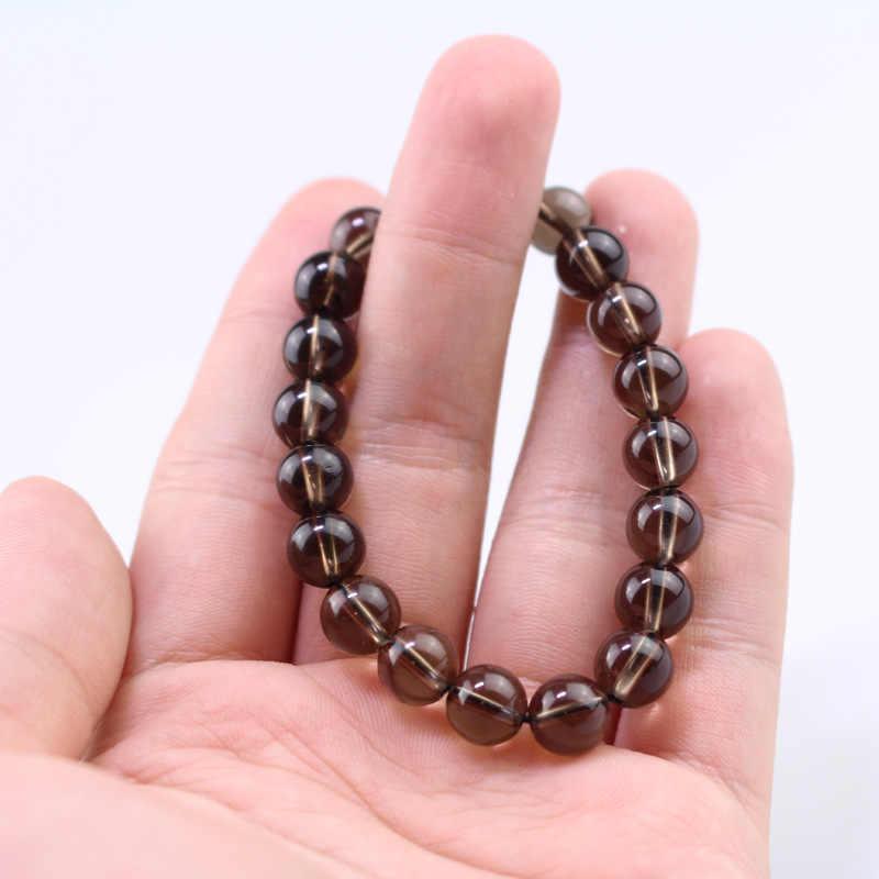 Nowy 8 MM brązowy kryształ bransoletka z kamienia naturalnego bransoletki kobiety koralik bransoletka kobiet bransoletka joga pulsera del grano de las mujeres