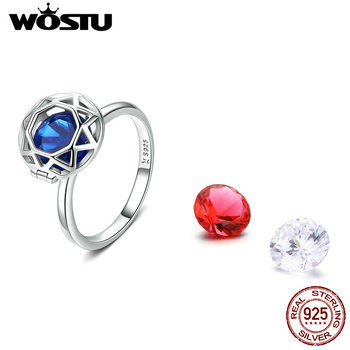 WOSTU Replaceable Blue & Red Zircon Ring Finger 925 Sterling Silver Crystal Rings For Women Wedding Engagement Jewelry CQR492