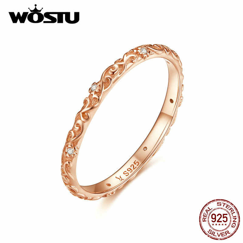 WOSTU Minimalist Rose Gold แหวน 925 เงินสเตอร์ลิง Clear Zircon แหวนนิ้วมือสำหรับผู้หญิงงานแต่งงานเครื่องประดับ CQR514