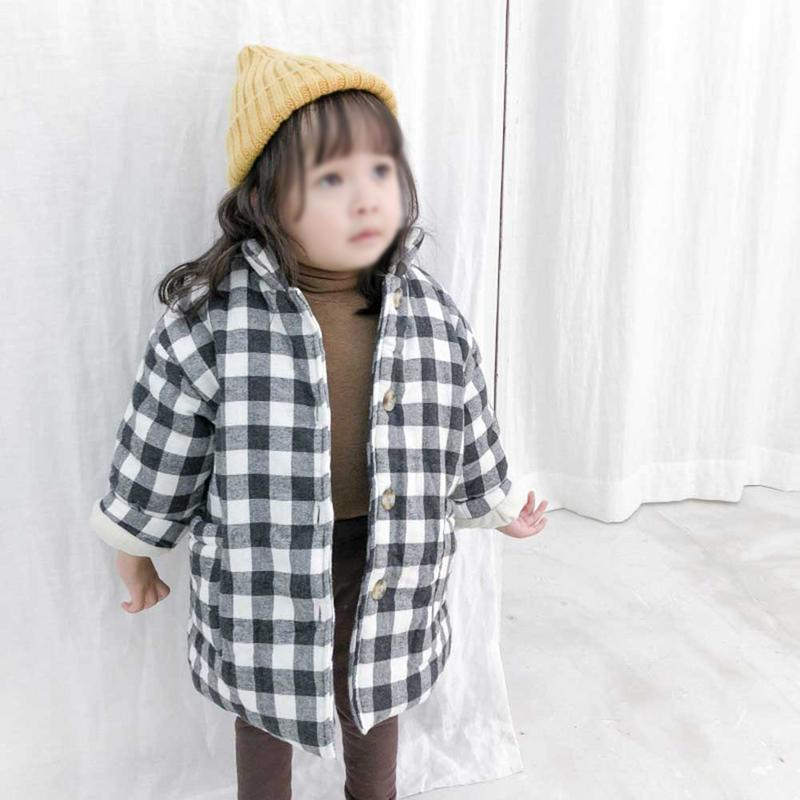 2019 Girls Fashion Winter Spring Padded Plaid Cotton Coat Children Soft Thickened Long-Sleeved Cotton Coat Kids Girl Outerwear2019 Girls Fashion Winter Spring Padded Plaid Cotton Coat Children Soft Thickened Long-Sleeved Cotton Coat Kids Girl Outerwear