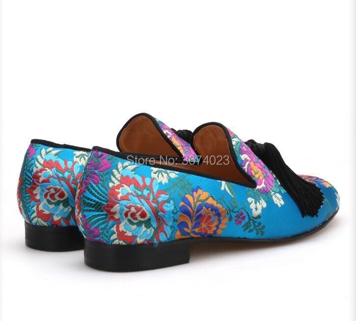 Qianruiti Apartamentos De Pics Deslizamento Bordado Mocassins Pics Vestido Em Sapatos Floral Homens Franjas Design Festa Étnica as Sapatas Zapatos As Hombre xrqIwAfr
