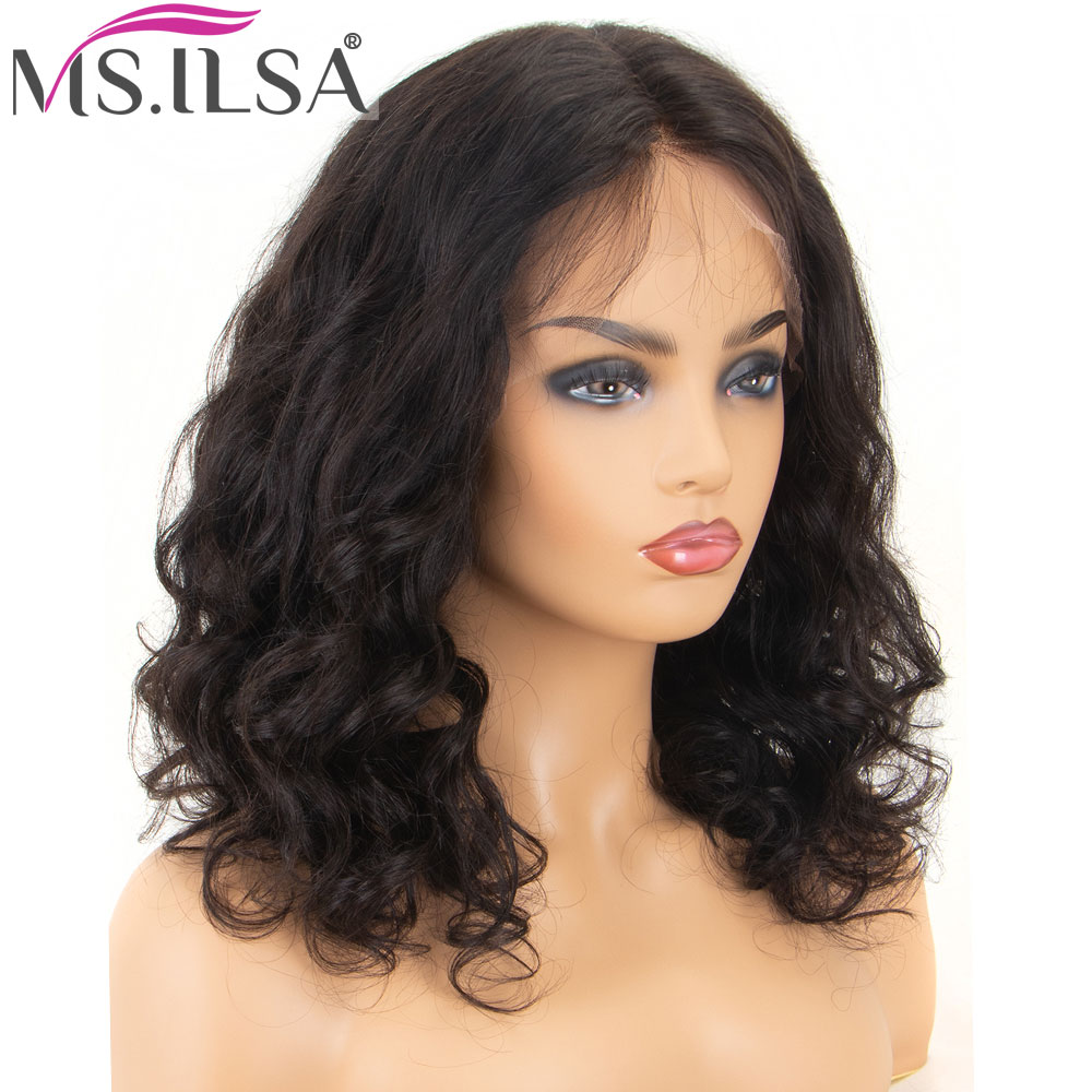 Short Bob Lace Front Human Hair Wigs Pre Plucked 150% Density Natural Wave Brazilian Remy Hair Lace Front Wigs For Women MS.ILSA
