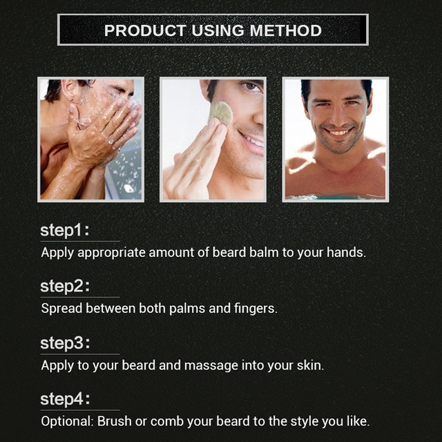 Omylady Natural Beard Balm Beard Conditioner Professional Beard Growth Organic Mustache Wax For Beard Smooth Styling 4