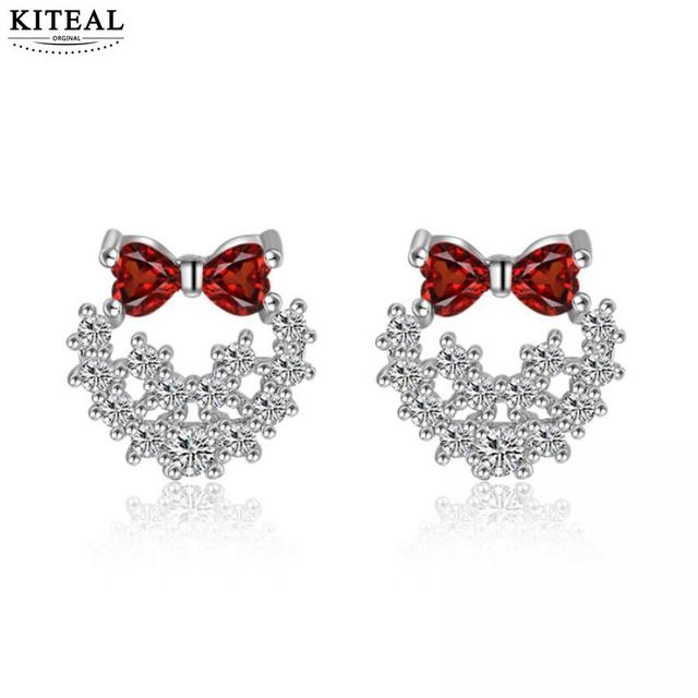 f73ef2fd2 KITEAL 925 High Quality silver plated Lady dangling earrings Bow aretes de  mujer bone