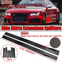 New 6x 2m/2.2m Universal Car Side Skirt Extension Splitters Body Apron Lip For AUDI A3 A4 A5 A6 A7 A7 A8 Q3 Q5 Q7 RS5 RS6 RS7 S3