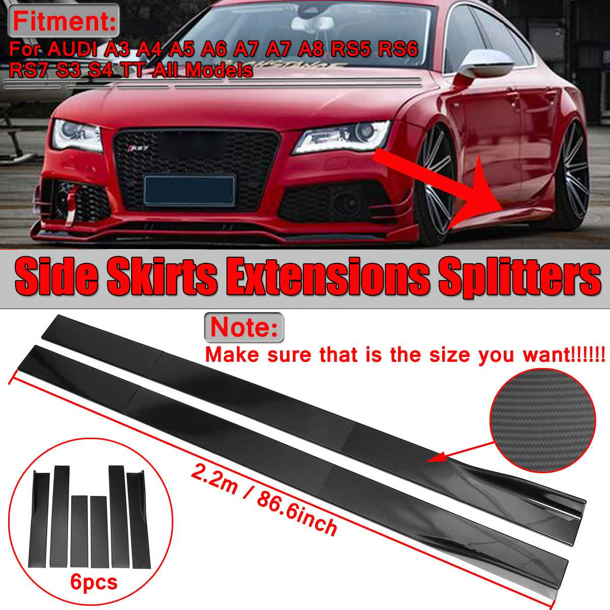 Pair 2m/2.2m Universal Car Side Skirt Extension Splitters Body Apron Lip For AUDI A3 A4 A5 A6 A7 A7 A8 Q3 Q5 Q7 RS5 RS6 RS7 S3Pair 2m/2.2m Universal Car Side Skirt Extension Splitters Body Apron Lip For AUDI A3 A4 A5 A6 A7 A7 A8 Q3 Q5 Q7 RS5 RS6 RS7 S3