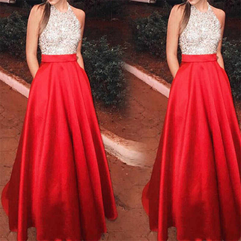 2019 Summer Long Dress Sequins Sleeveless Beach Dress Tunic Maxi Dress Women Evening Party Dress Sundress Vestidos de festa XL