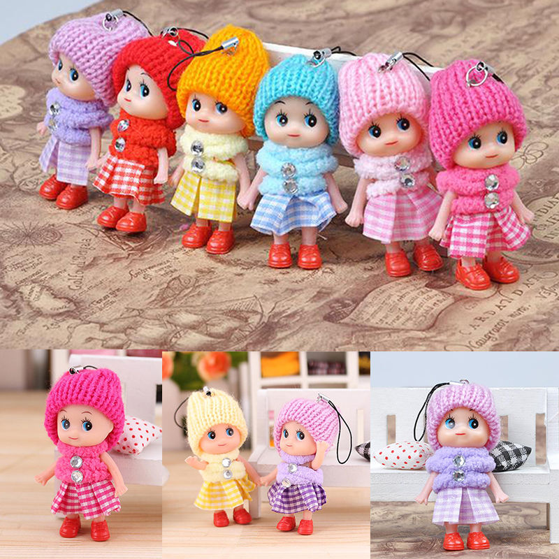 5 PCS/set  8cm Small Mini Doll Mobile Phone Pendant Hat Clown Plush Doll Pendant Cute Plaid Skirt Confused Dolls Keyring