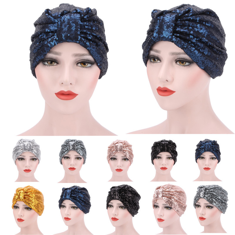 Sequin Scarf Hat Popular Muslim Package Head Cap Turban Women Fashion India Hat Street Head Cap Hijab Headscarf Accessories New