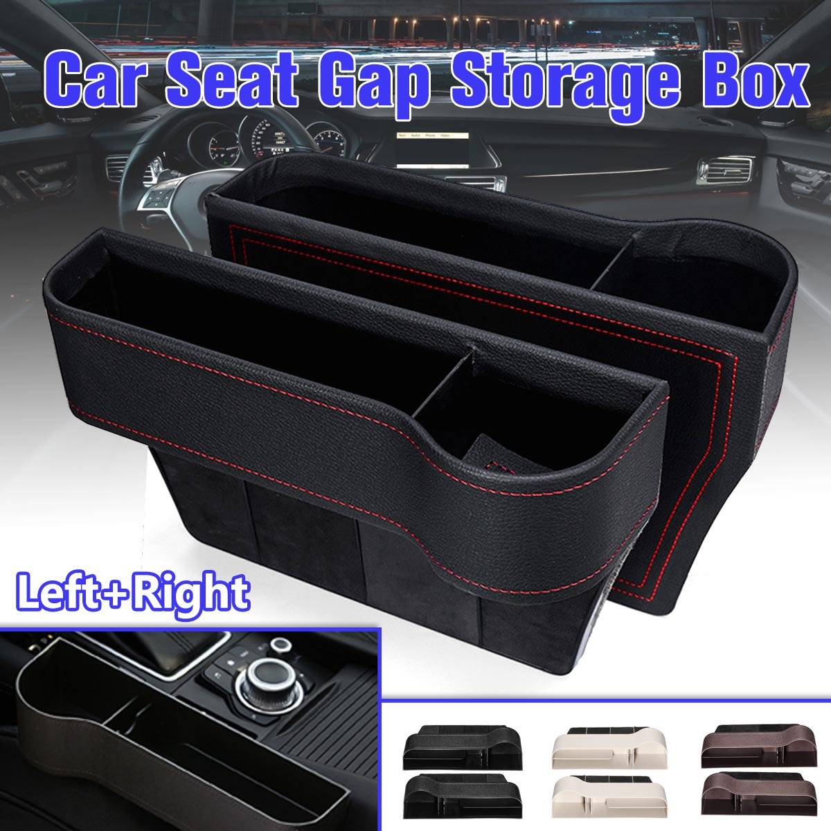 Pair Universal Left/Right Car Seat Crevice Gaps Storage Box ABS Plastic Auto for Pockets Organizers Drink holder(China)