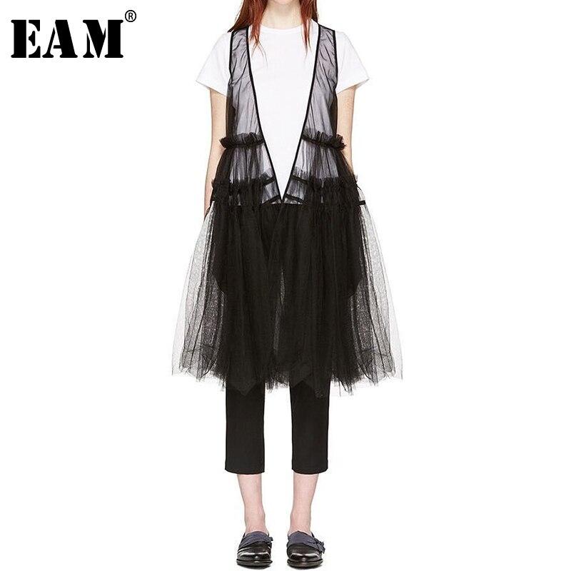 [EAM] 2019 New Spring Summer V-collar Sleeveless Black Hem Irregular Stitch Big Size Irregular Vest Women Vest Fashion JQ044