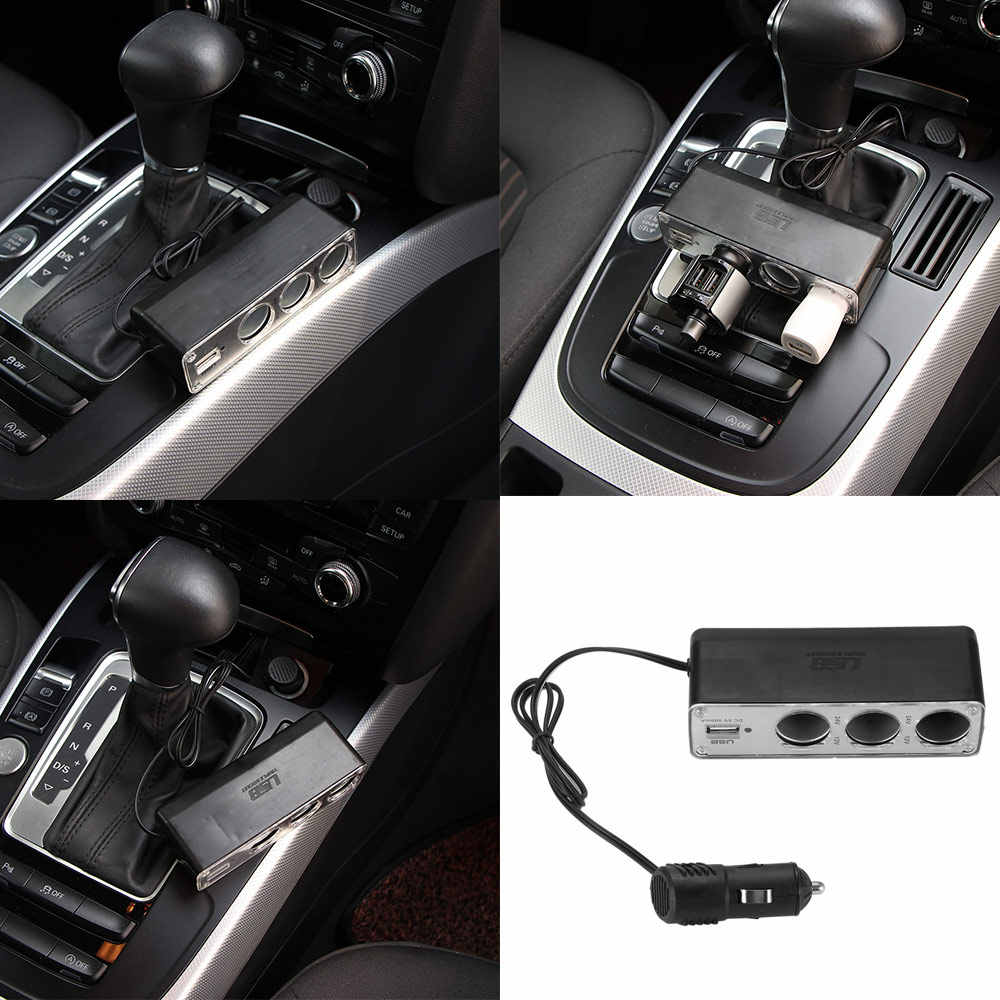 1 to 3 Car Adaptor Charger Cigarette Lighter Splitter Hub Socket with USB DC 12-24V Car Auto Power Adapter lighter