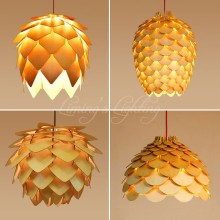 OAK Wooden Pinecone Pendant Lights Hanging Wood modern Lamps Dinning Room Restaurant Retro Fixtures lighting