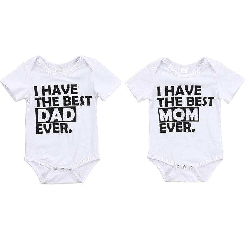0-18 M Infant Neugeborenen Baby Junge Mädchen Kurzarm Brief Drucken Baumwolle Romper Overall Outfits Sommer Baby Kleidung ZuverläSsige Leistung