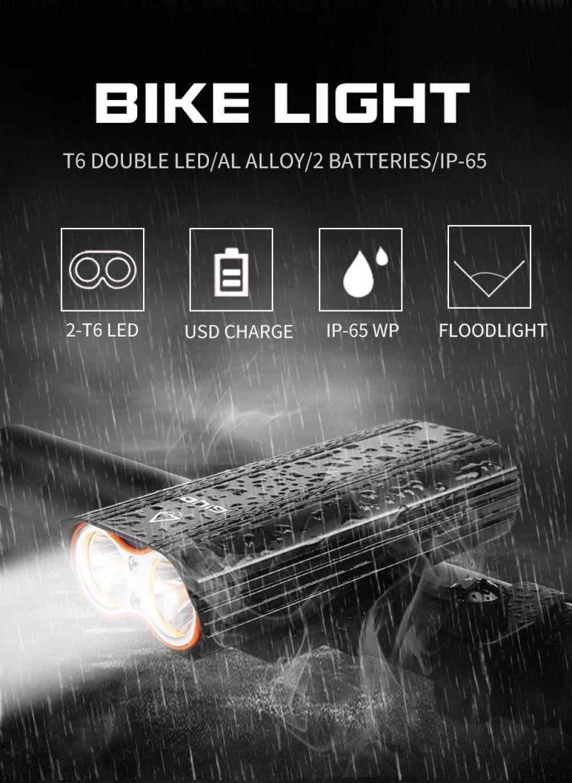 GYIO De Vélo De Lumière Avant 2400Lm Phare 2 Batterie T6 Led Vélo Lumière Vélo Lampe Lanterne lampe de Poche Pour Vélo Vélo