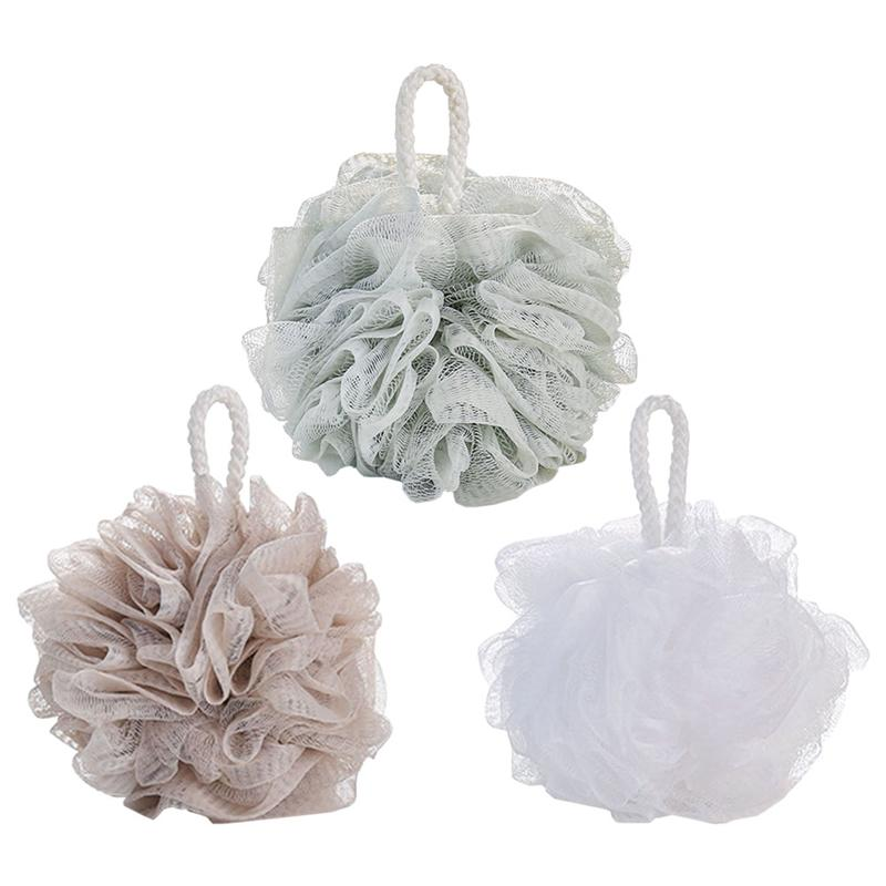 In Short Supply 4pcs Simple Large Soft Bath Ball Solid Color Mesh Sponge Mesh Pouf Shower Ball white + Green + Grey Blue + Khaki