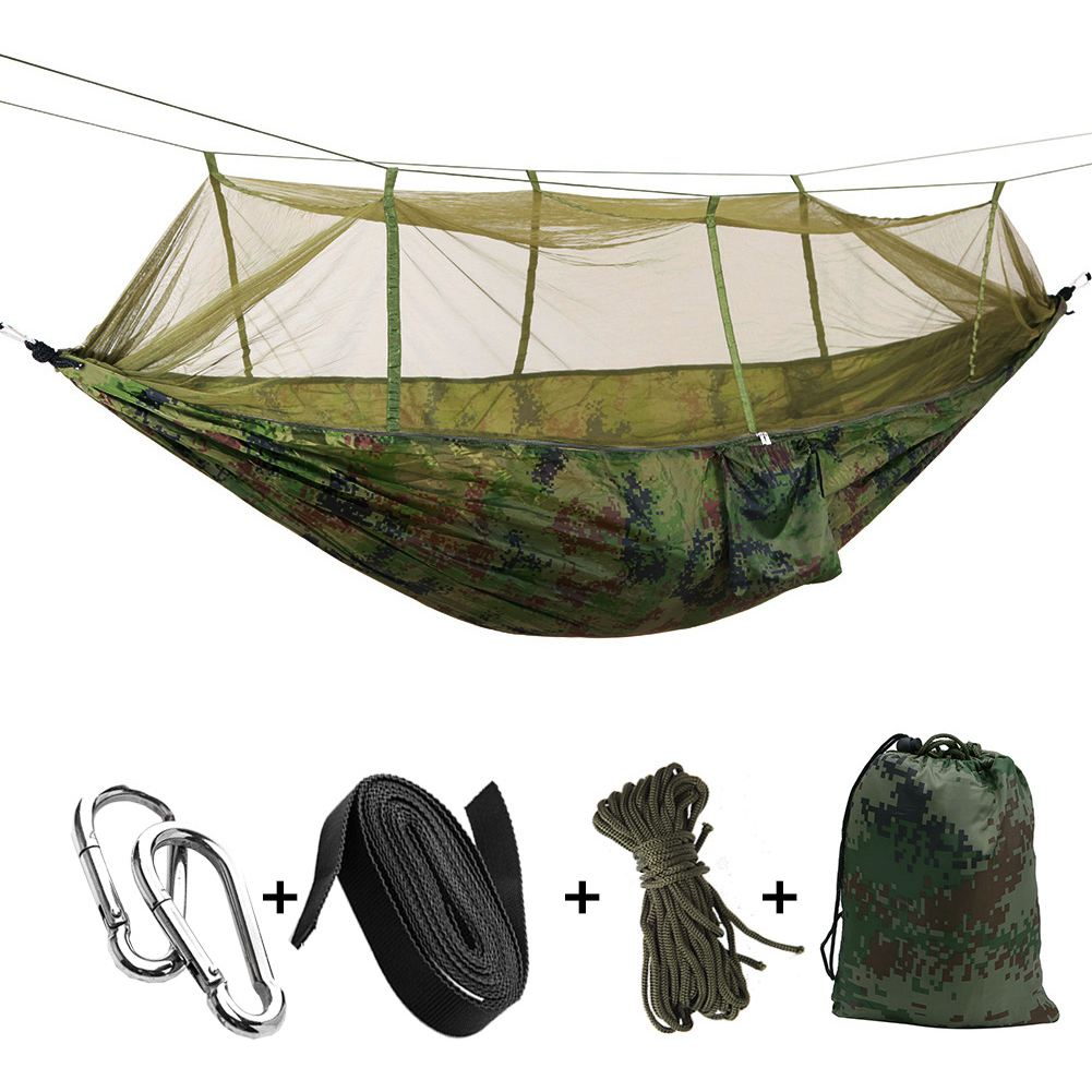 Portable High Strength Parachute Fabric Camping Hammock Hanging Bed With Mosquito Net Sleeping Hammock Camo