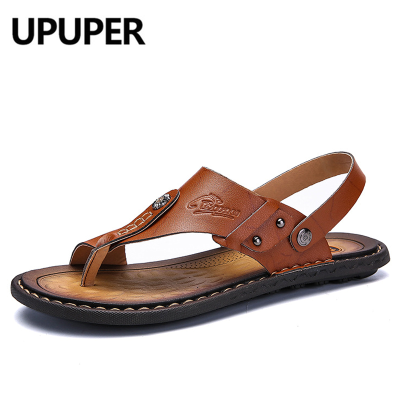 UPUPER New Arrival Summer Men Sandals Comfortable Flip Flops Men's Shoes Split Leather Beach Sandals Non-slide Male Slippers