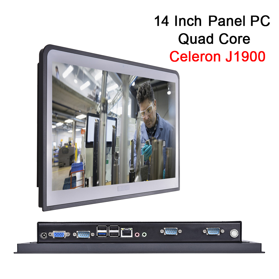 14 Inch 2MM Embedded IP54 Industrial Panel PC,10 Points Capacitive Touch,Windows 7/10/Linux,Intel J1900,[HUNSN DA10W]