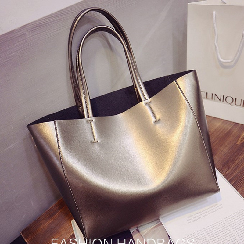 ca497723e096 US $17.49 10% OFF|2019 New Tote Handbag PU Large Capacity Commute Simple PU  Ladies Fashion Shoulder Women Leather Handbags Bag Solid Color Bags-in ...