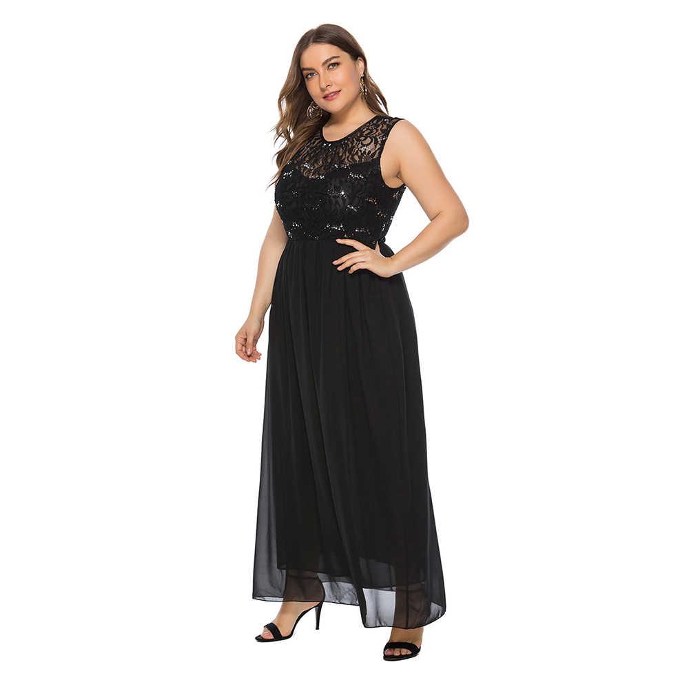 Wipalo женское кружевное шифоновое платье без рукавов больших размеров с прозрачной кружевной панелью, украшенное кристаллами, элегантное вечернее платье 6XL Vestidos