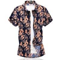 2019 Summer Male Shirt Mercerized Cotton Casual Short Sleeve Button Shirt For Men Printed Floral Shirts Men Plus Size 6xl 7xl