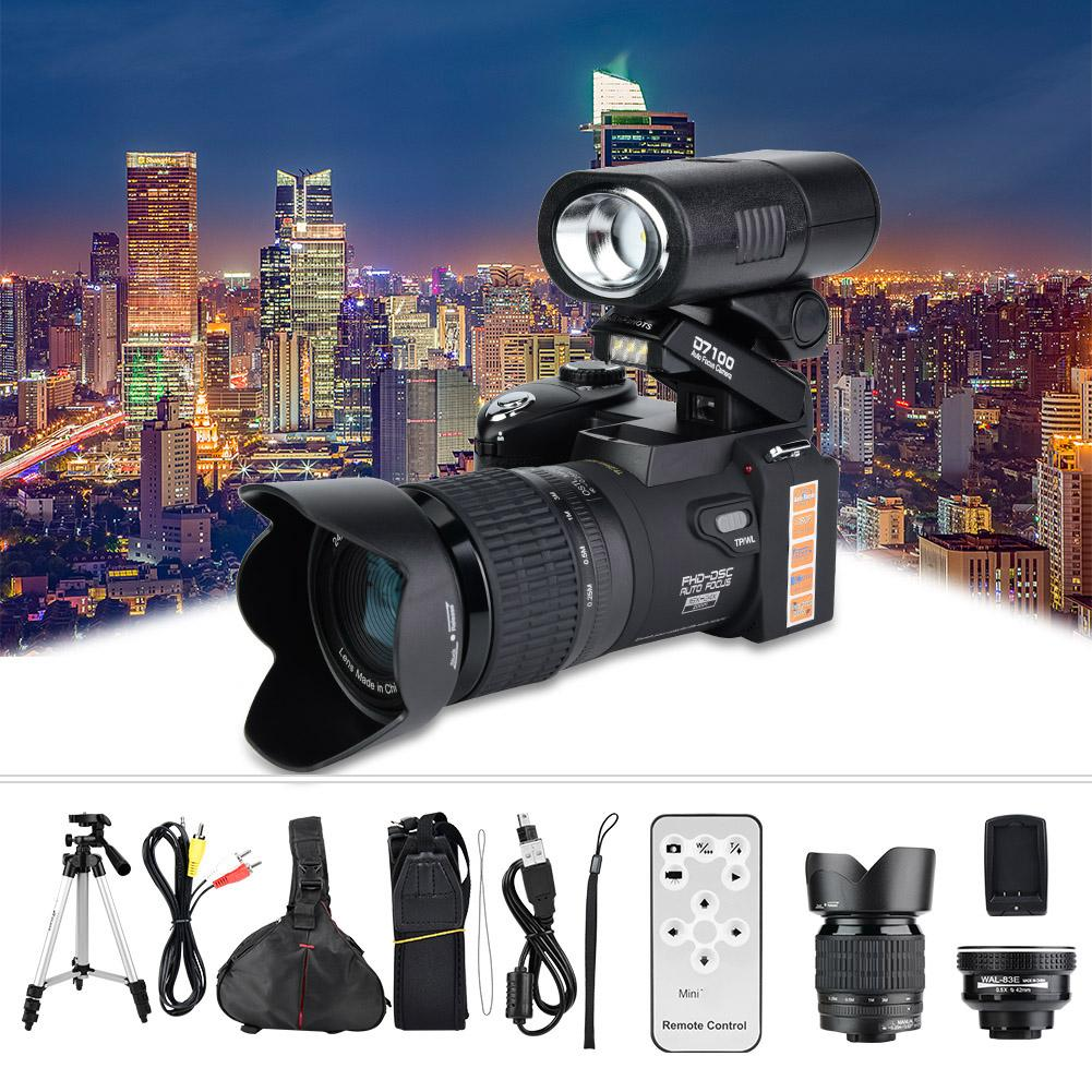 Camcorder-Camera Angle-Lens Digital D7300 Wide 33MP HD Tripod-Set LED 24X