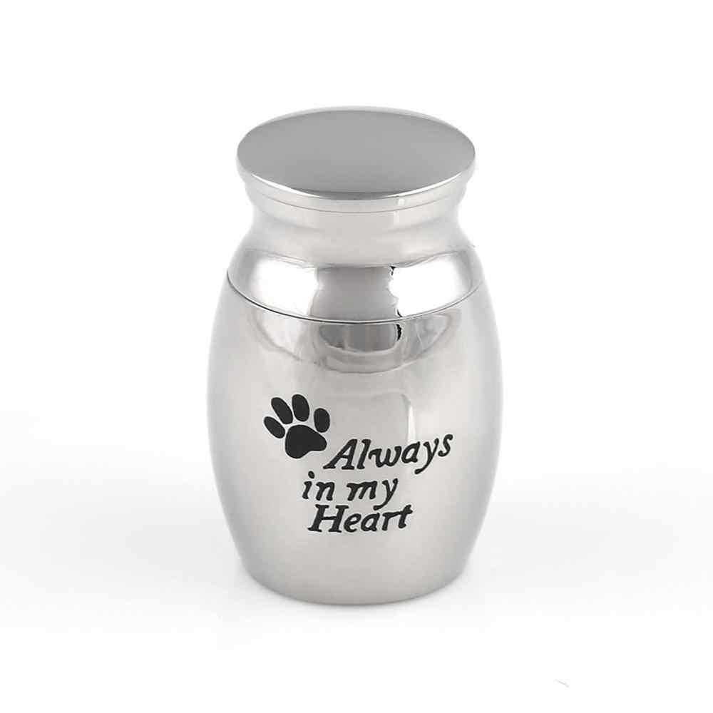 Memorial Mengingat Stainless Steel PET Guci untuk Abu Anjing Kucing Abu Kotak Kremasi
