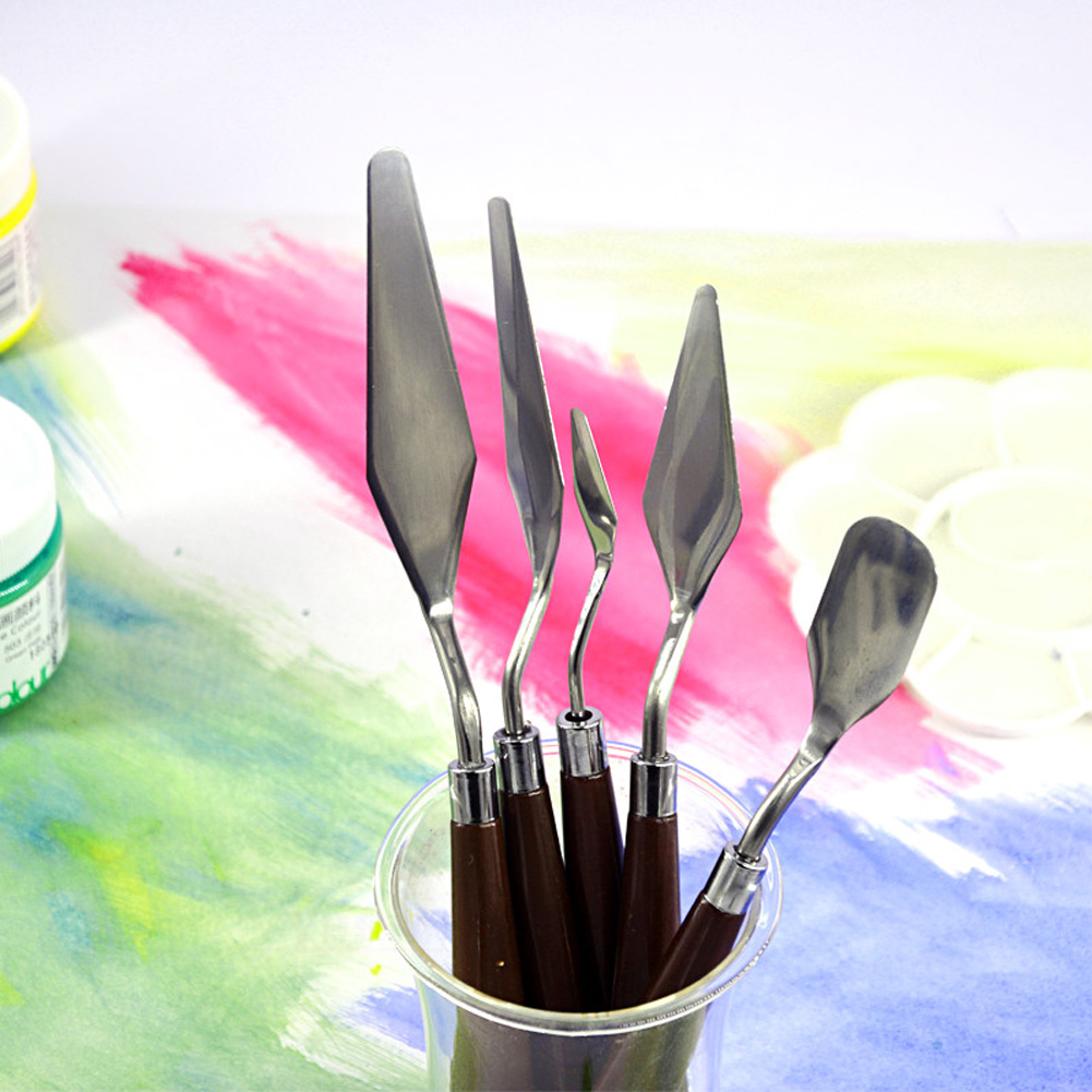 5Pcs Fine Arts Mixing Stainless Steel Professional Paint Palette Knife Kit Scraper Painting Spatula