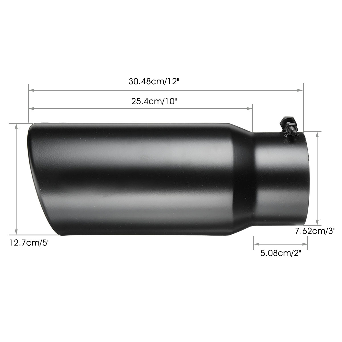 Black Inlet 5 inch Outlet 10 Rolled End Angle Cut Truck Exhaust Tip Tail Pipe