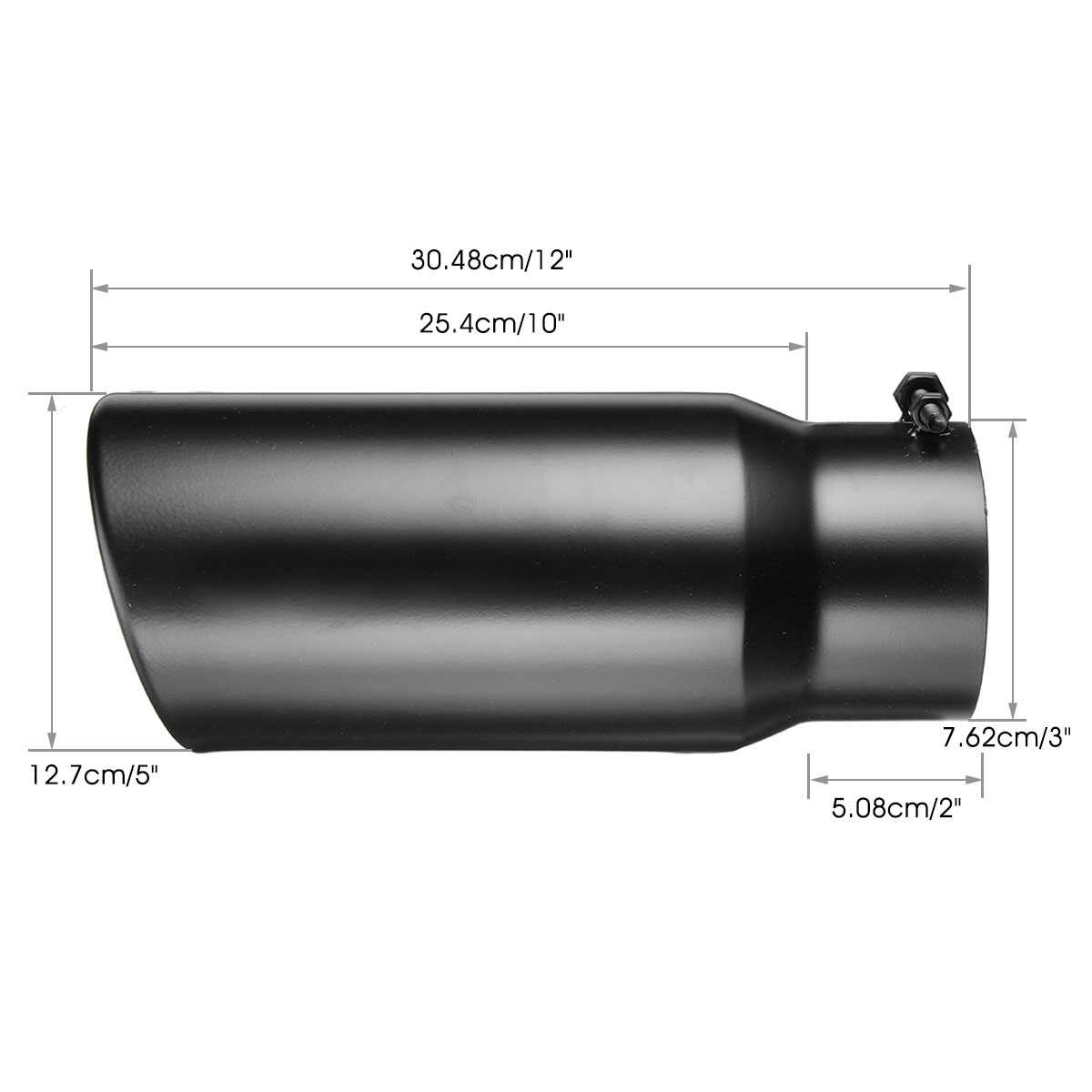 ESPEEDER Exhaust Tip Universal 3Inlet 4Outlet 12 Length Bolt On Stainless Steel Black Diesel Exhaust Tail Pipe Muffler Tip