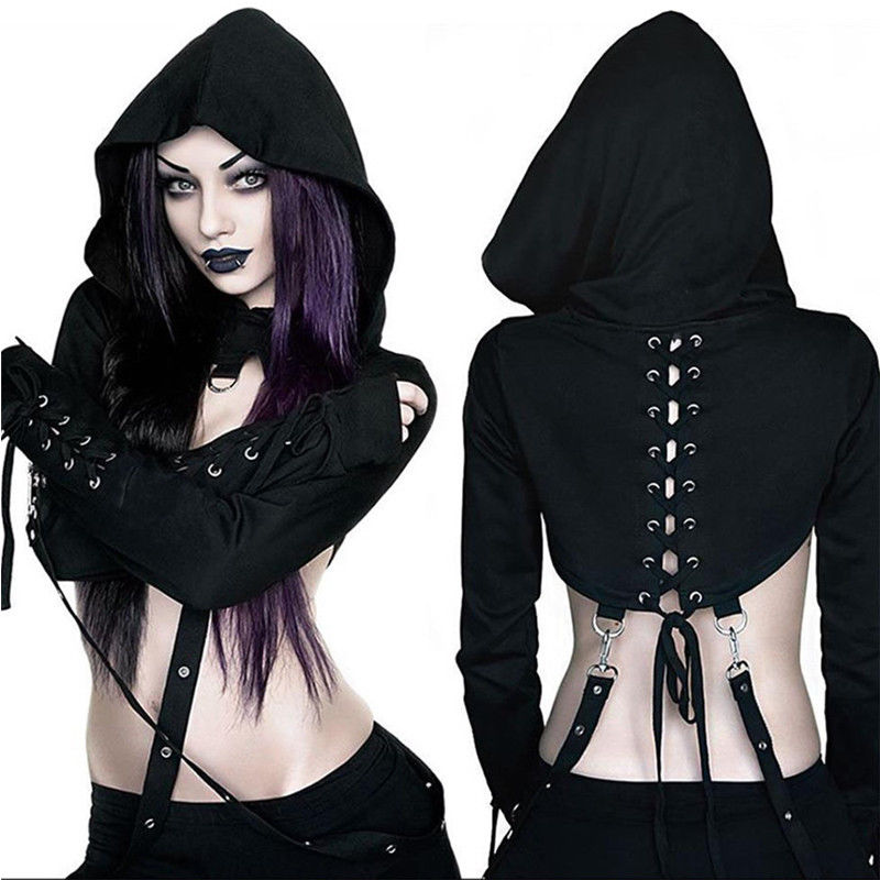 Short Hoodies Crop-Top Long-Sleeve Halloween Black Gothic Fashion Women Cool Vampire title=