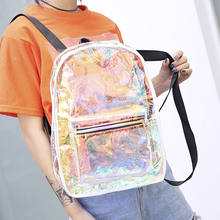 2018 New Style Fashion Women's Zipper Girls Laser Backpack Clear High Capacity Holographic PVC School Bag(China)